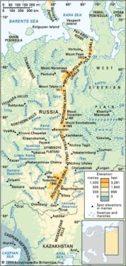 Map of Russia, Depicting the Ural Mountain Range - Detail