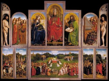 The Ghent Altarpiece (open) by Hubert and Jan Van Eyck, completed in 1432