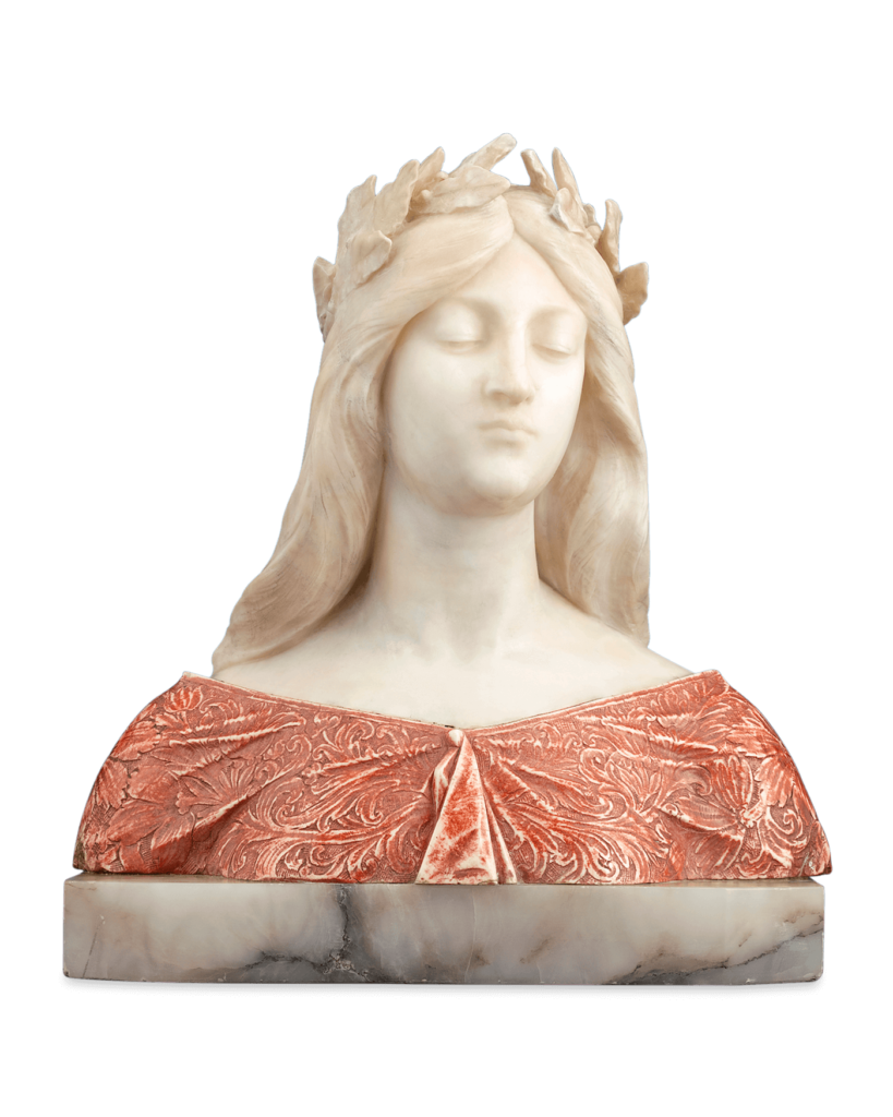 This Art Nouveau bust of a classical maiden in repose was created by Italian sculptor Giuseppe Gambrogi from elegant alabaster and onyx. Circa 1910
