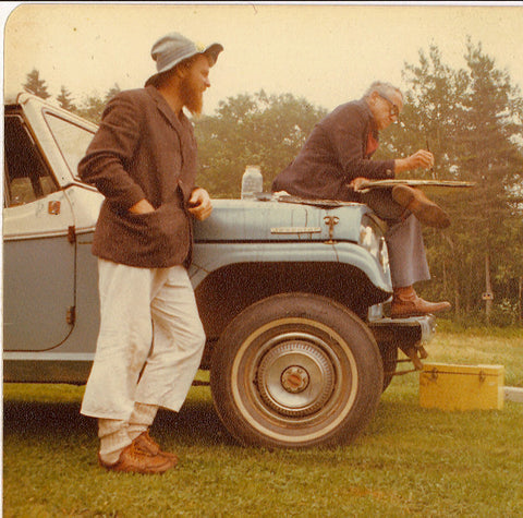 Wyeth (right) paints en plein air, 1977.