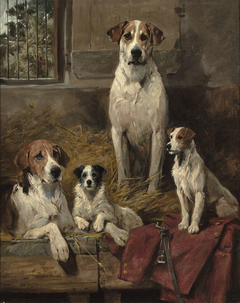 """Anticipation by John Emms. Signed """"JNO EMMS"""" (lower left). Oil on canvas. Circa 1890."""