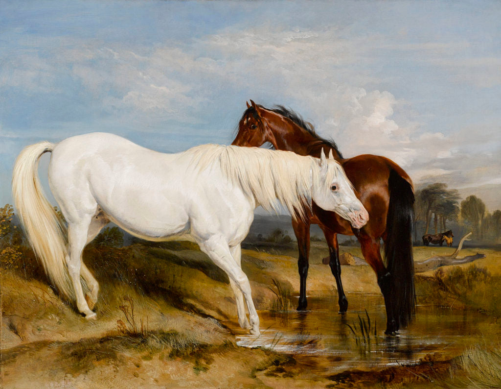 """Portrait of an Arab Mare with her Foal by Sir Edwin Henry Landseer. Signed with initials and dated """"1825"""". Oil on canvas."""