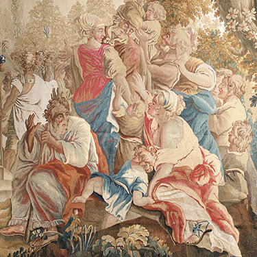 Detail of the 18th-century Aubusson Tapestry, The Marriage of Joseph