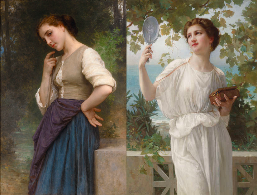 The Shepherdess by William Adolphe Bouguereau. Circa 1895 / Admiring Beauty by Guillaume Seignac