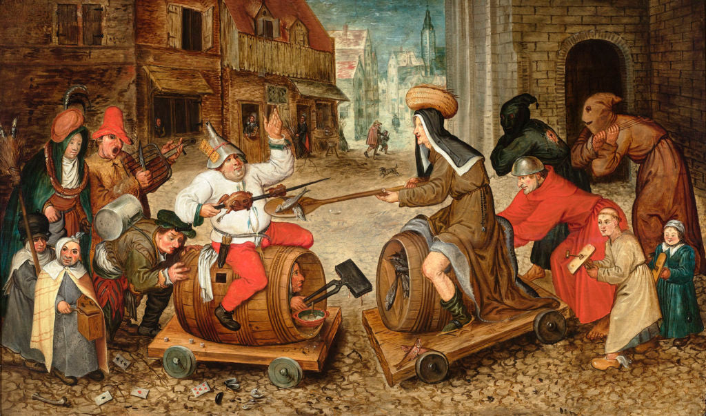 The Battle Between Carnival and Lent by Pieter Brueghel the Younger. Oil on oak panel.