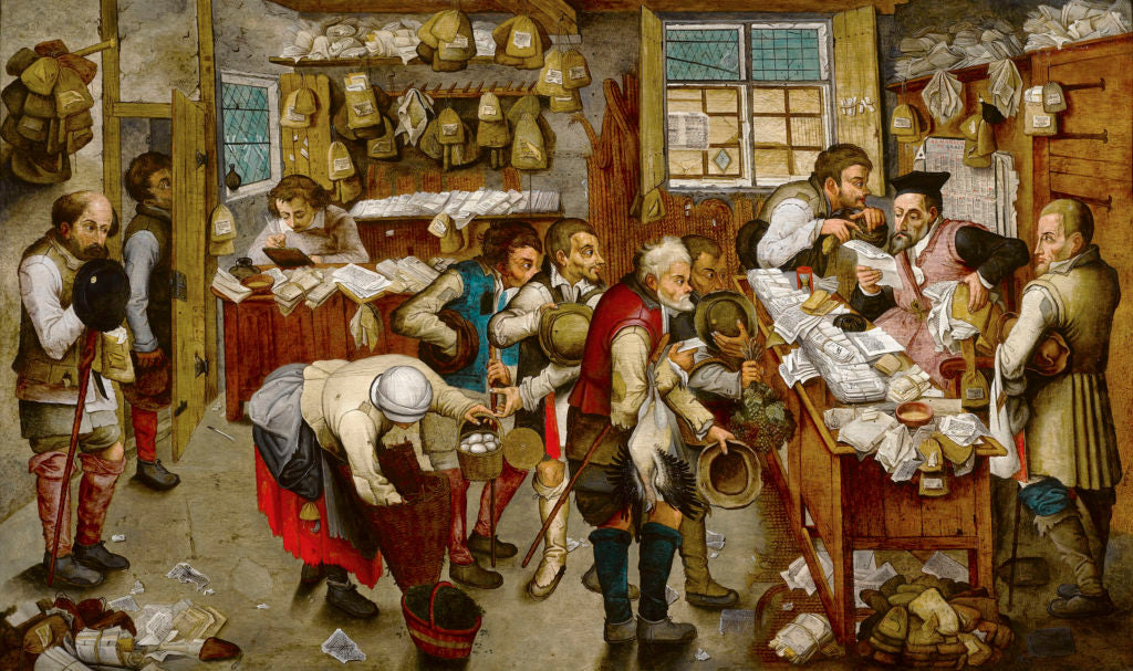 """The Payment of Tithe by Pieter Brueghel the Younger. Oil on panel. Signed """"P Brueghel"""" (lower left)."""
