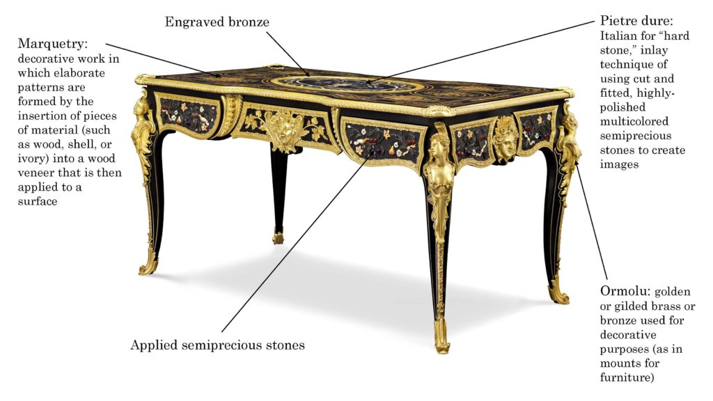 This amazing French bureau plat was created by Jean-Louis-Benjamin Gros, an ébéniste renowned for his use of multiple mediums in a single piece