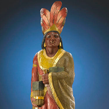 Close up of the American Cigar Store Indian (above)