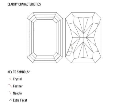 On a white diamond certification, a plot-diagram will be drawn to visually show the location of certain clarity characteristics