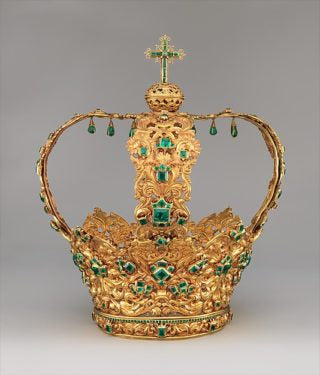 Crown of the Virgin of the Immaculate Conception, known as the Crown of the Andes. Colombian, circa 1660. Photo courtesy of the Metropolitan Museum of Art.