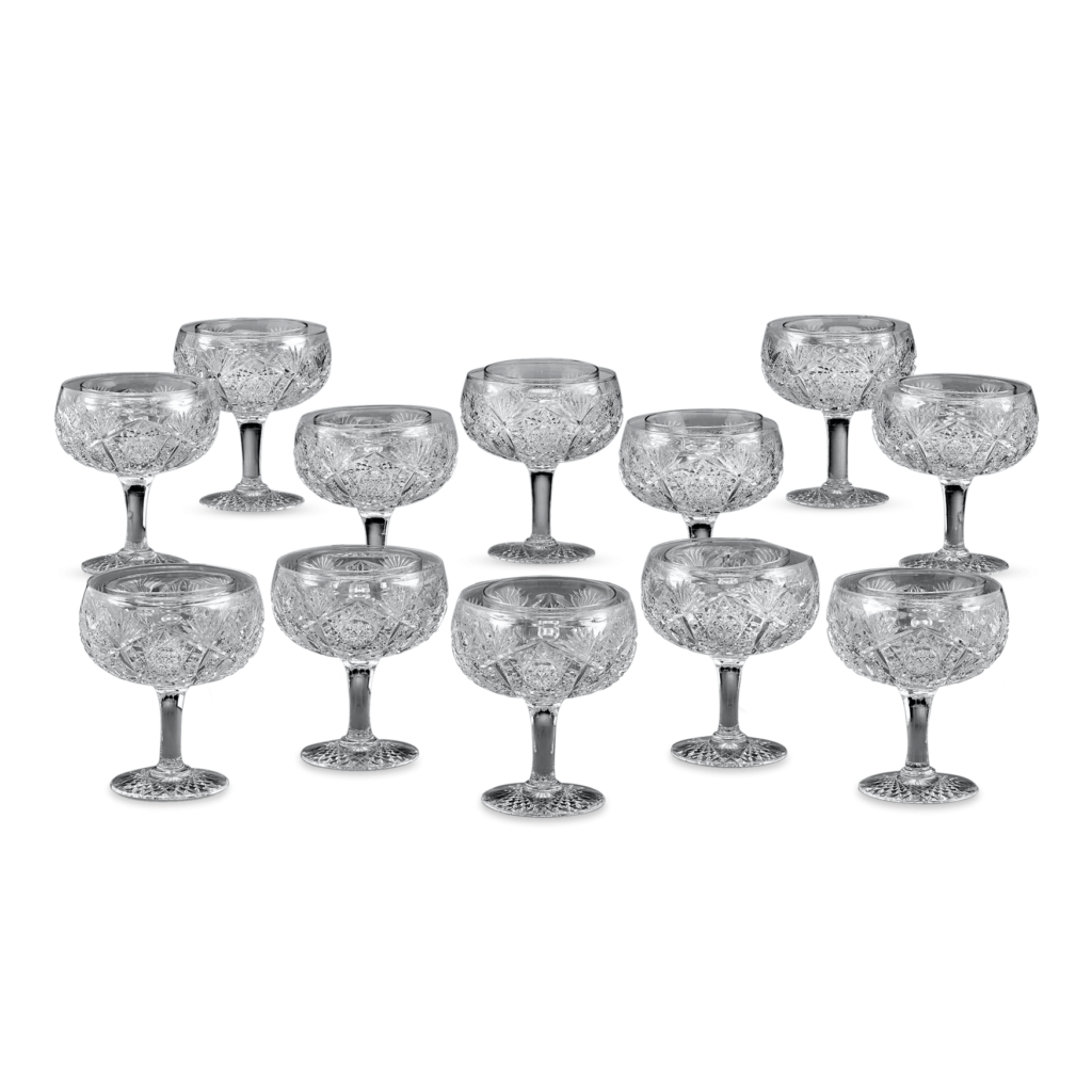 A rare, original set of 12 American Brilliant Cut Glass fruit supremes with liners. To find a complete service in this remarkable condition is very rare. Early 20th Century