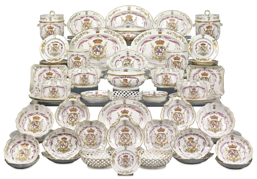 This remarkable porcelain service was a special commission by Douglas, 8th Duke of Hamilton, and created by Crown Derby Porcelain.