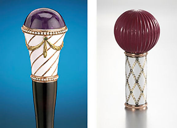 Fabergé cane handle (left) compared to a Fabergé parasol handle (right). Note the difference in the width of the base, or mount, of the handle. Parasols didn't have to support weight, and were mounted on narrower stems.