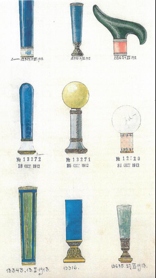 A drawing of cane handle designs from Fabergé work master Henrik Wigström's books. Fabergé's work masters, though bound by Carl's exacting standards, did impart their own distinct styles into their creations.