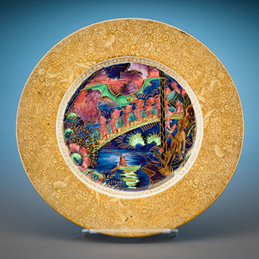 Wedgwood Fairyland Lustre Imps on a Bridge and Treehouse Plate