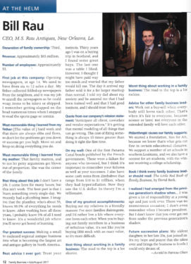 Family Business Magazine Interview with Bill Rau