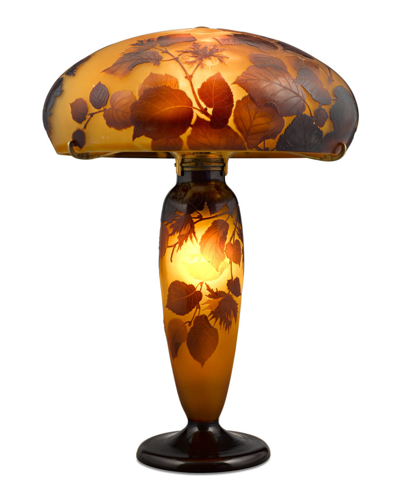 Galle Cameo Glass Lamp.