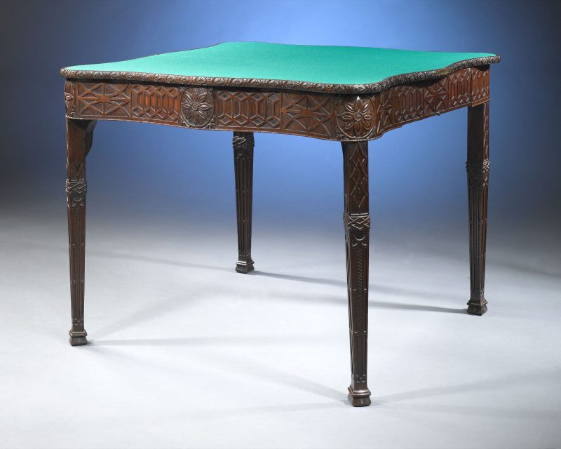 A exceptional Georgian card table is a masterpiece of English woodworking