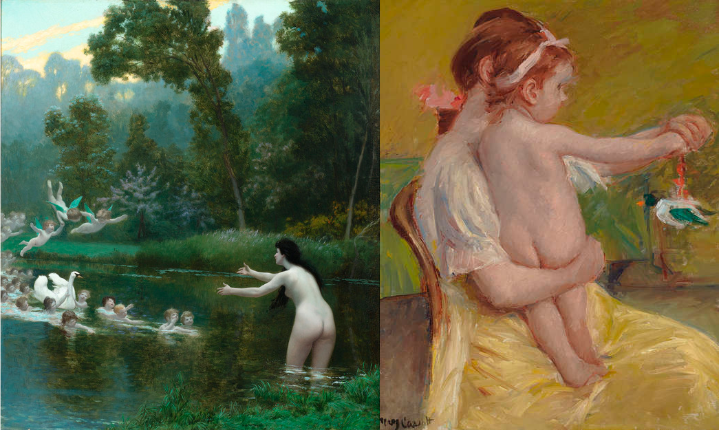 Leda and the Swan by Jean-Léon Gérôme. Circa 1896 / Mother Holding a Baby Playing with a Toy Duck by Mary Cassatt. Circa 1914