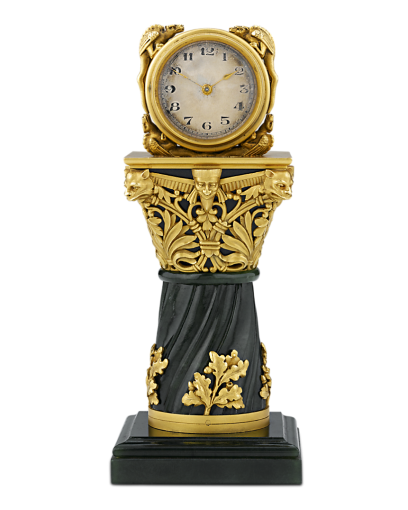 This Paul Frey Miniature Gold And Jade Clock would be a taboo gift to give in many Asian cultures since clocks are representative of the passage of time and death.