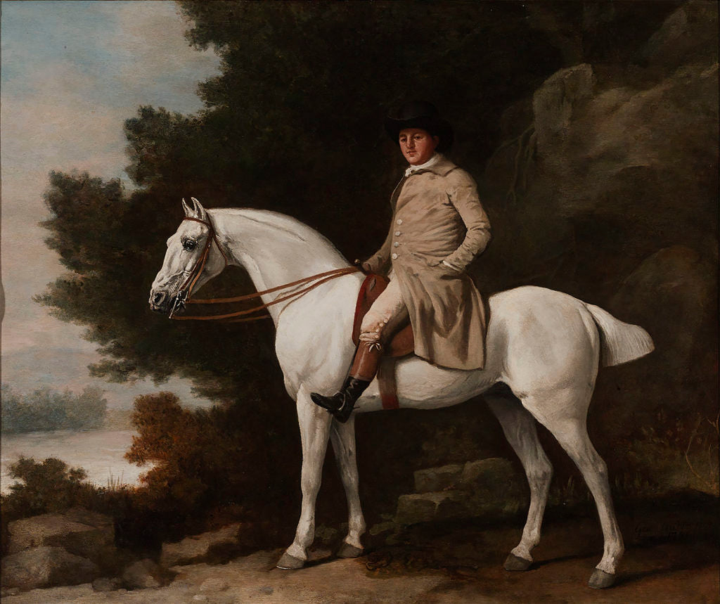 """Portrait of a Gentleman on a Grey Hunter by George Stubbs. Signed and dated """"Geo.Stubbs pinxit/1781"""" (lower right). Oil on panel."""