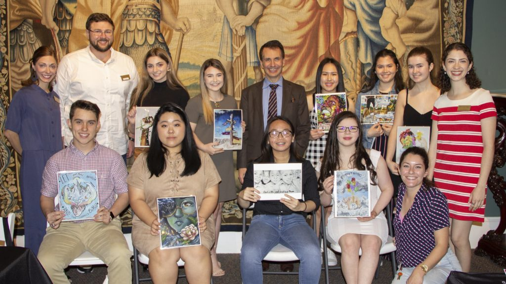 The 10 Finalists pose with images of their artworks and the Rau For Art Foundation Scholarship Committee