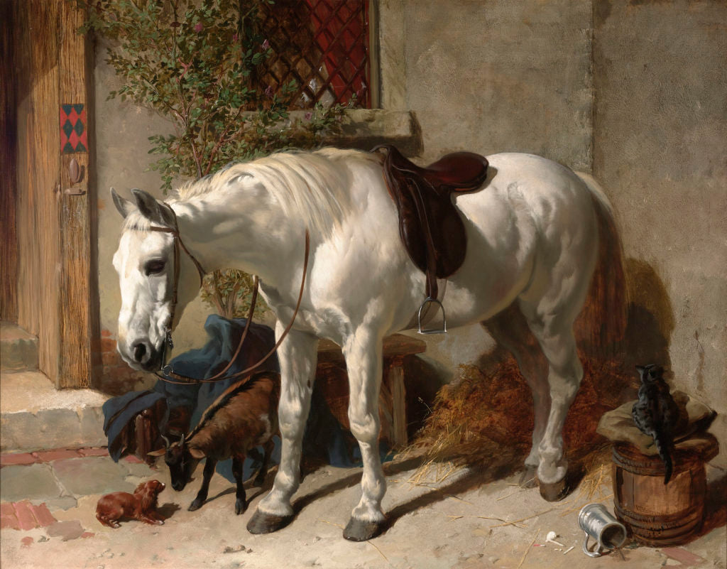 """A Grey Horse with a Goat, a Toy Spaniel and a Cat by John Frederick Herring, Sr. Signed and dated """"J.F.Herring Sen. 1847"""" (lower left). Oil on canvas."""