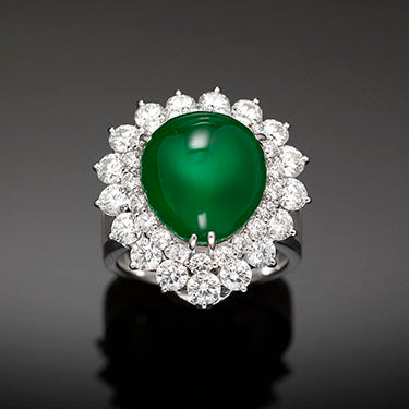 "Imperial Jadeite ""Sugar Loaf"" Cabochon Ring"