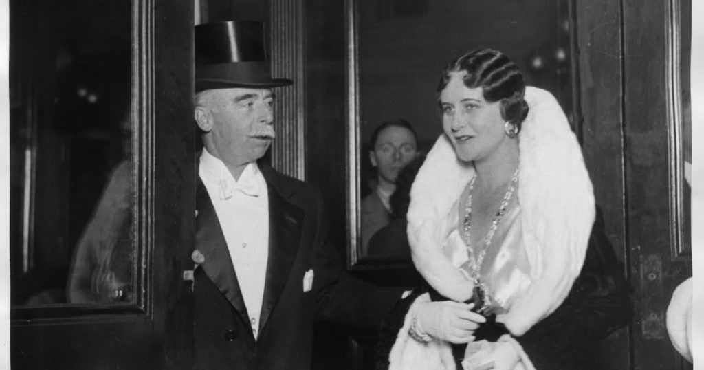 Clarence Mackay with his wife Anna Case Mackay wearing the famed emerald.