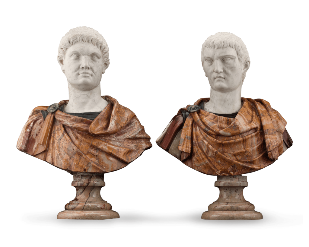 Depicting the Roman rulers of Otho and Tiberius, these remarkable busts date to the 17th century and exhibit the masterful sculptural qualities synonymous with Italian workmanship. The beautiful, slightly later carrera marble heads are precisely detailed and rest upon remarkably worked 17th-century alabaster forms the robed chest and shoulders of each commanding ruler.