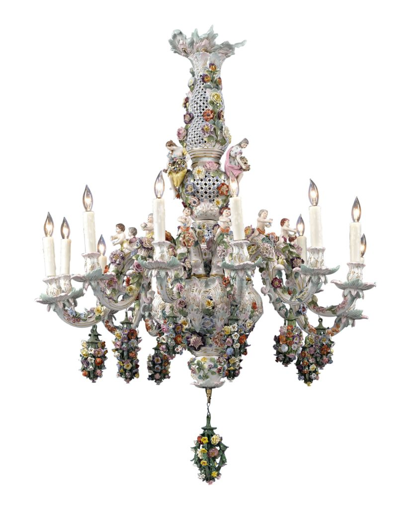 Chandeliers have been made in nearly every medium imaginable...even porcelain. This Meissen porcelain 12-Light Chandelier boasts a sea of hand-formed flowers dotted with putti and elegant maidens. Circa 1900.