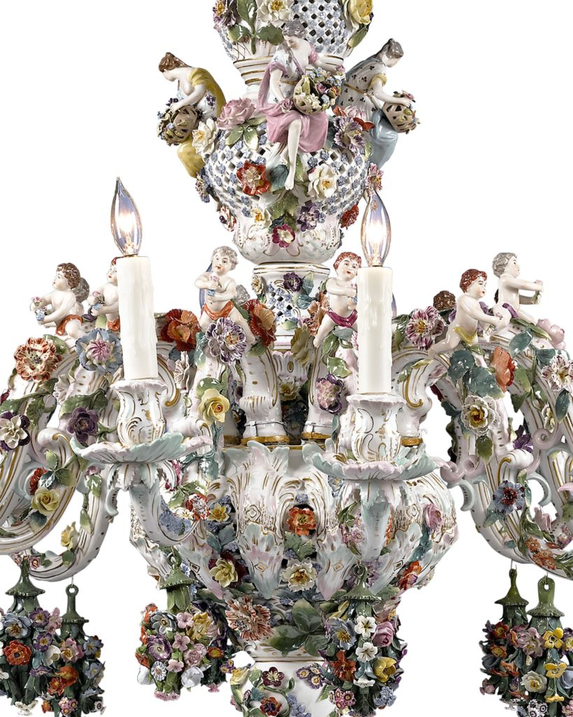 The artistry of Meissen porcelain is on full display in this incredible chandelier.