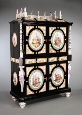 Meissen Porcelain Mounted Ebonized Cabinet, Circa 1860