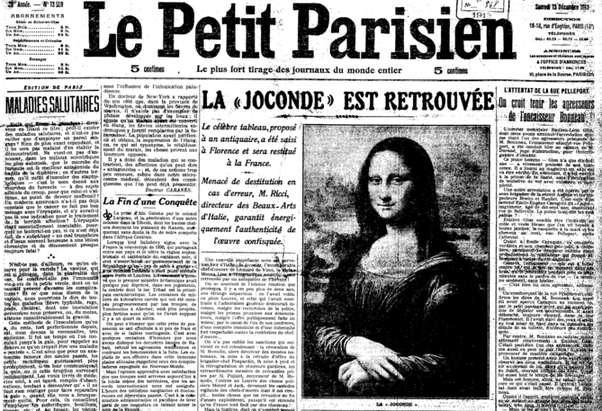 Front page of Le Petit Parisien newspaper when the Mona Lisa was stolen the morning of August 21, 1911.
