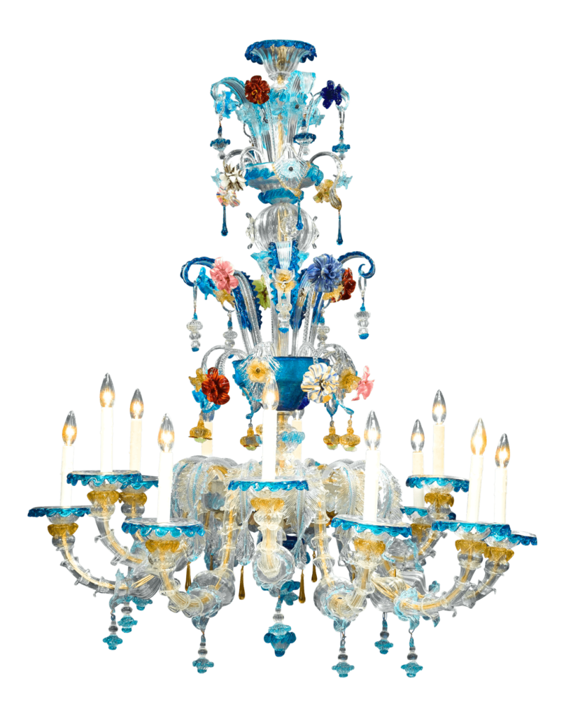 This stunning Murano art glass chandelier is enveloped in a majestic garden of colored glass. Circa 1880.