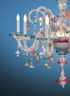 Close up, incredible Murrano Glass Chandelier