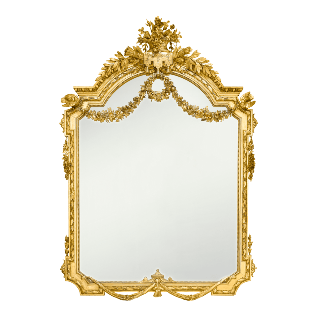 Many cultures believe mirrors have the ability to invite evil spirits and bring bad luck. Pictured: Napoleon III Giltwood Mirror