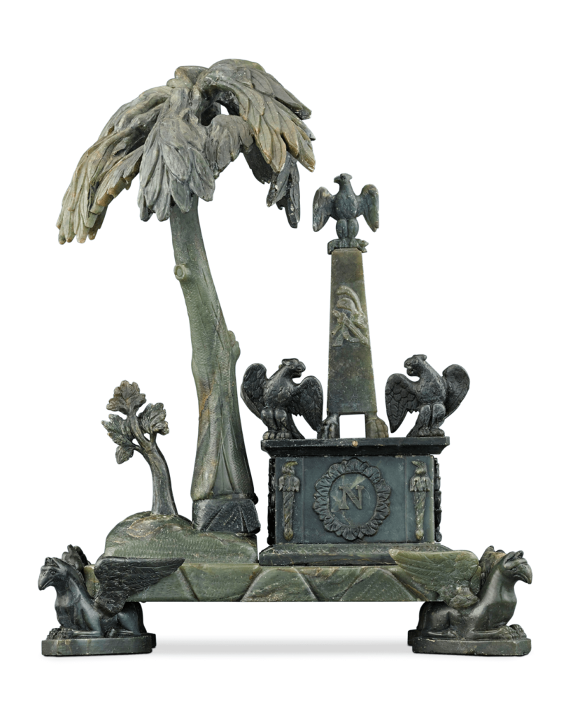 Skillfully crafted of carved nephrite jade, this one-of-a-kind sculpture is a fantastical recreation of the tomb of Napoleon on St. Helena, the island of the Emperor's final exile and eventual death. Circa 1830