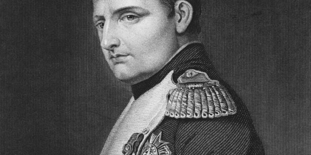 A portrait of Napoleon Bonaparte (1769 - 1821) as Emperor Napoleon 1 of France on 1 June 1815 in Paris, France. An engraving by Samuel Freeman from a painting by Paul Delaroche.