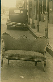 Image from the M.S. Rau Antiques' archives taken in the gallery's first years of Rococo Revival sofa on Royal Street.