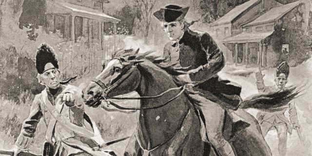 "Illustration of Paul Revere's midnight ride - From ""The History of Our Country,"" published 1900. (Photo by: Universal History Archive/UIG via Getty Images)"