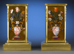 Pietre dure was used to adorn important objets d'art, such as these magnificent plinths.