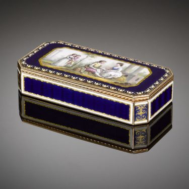 Flawless royal blue guilloché enameling adorns this rare 18th-century French gold snuffbox