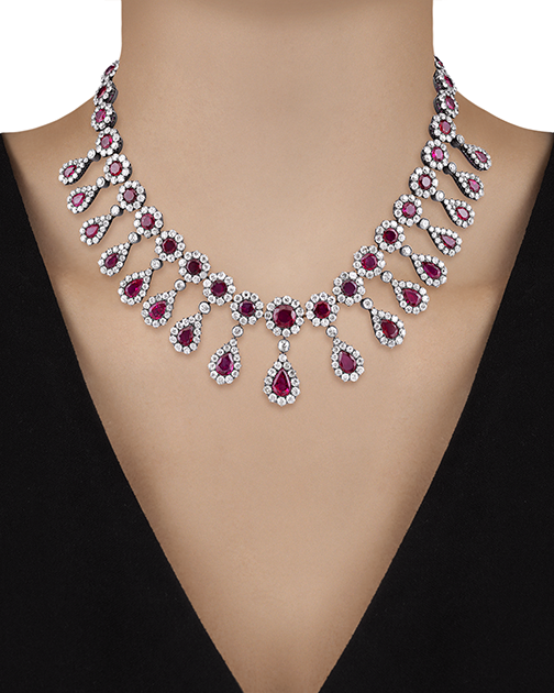 "This antique Burma ruby and diamond necklace measures 16"" in length. With its 50 carats of Burma rubies and 30 carats of diamonds, this is a truly spectacular collar-length necklace perfect for a plunging neckline."