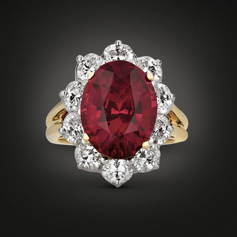 Weighing 7.51 carats, this rare untreated Ceylon ruby ring was crafted by Oscar Heyman
