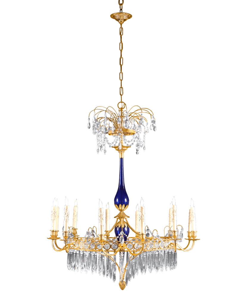 Boasting a luxe fountain design with a cobalt blue glass stem, this Russian Neoclassical chandelier would have graced the most sumptuous interior. Circa 1820.