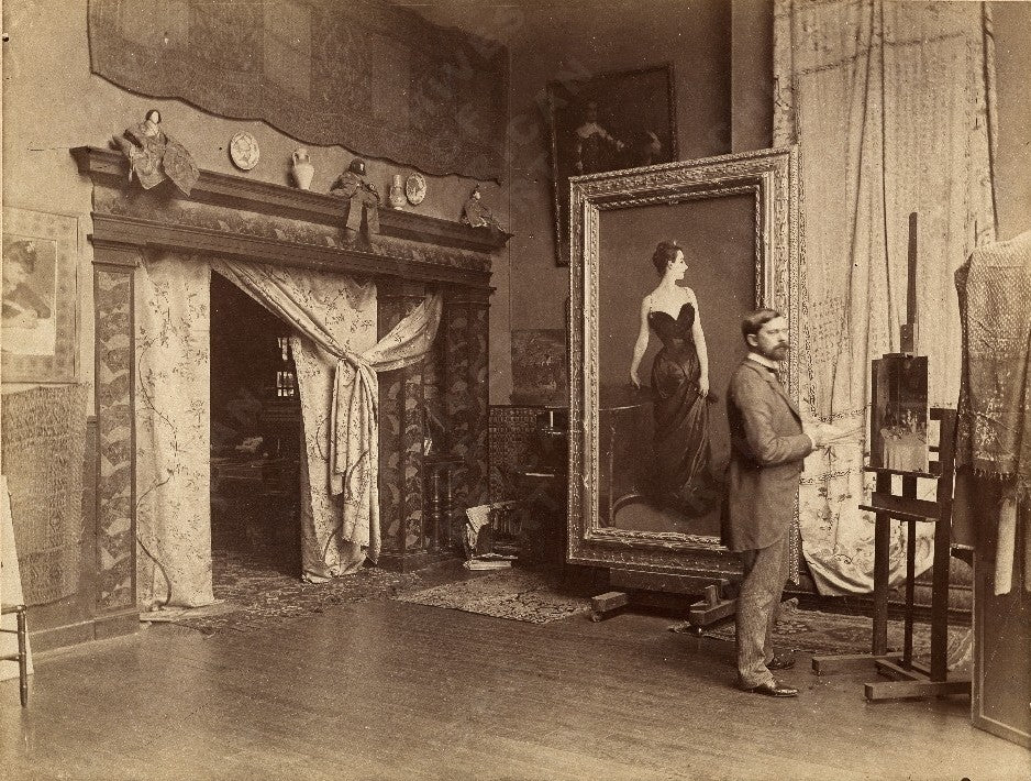 John Singer Sargent in his studio with Portrait of Madame X