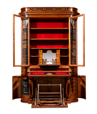 A number of hidden spaces elevate this Victorian bookcase to a truly intriguing piece