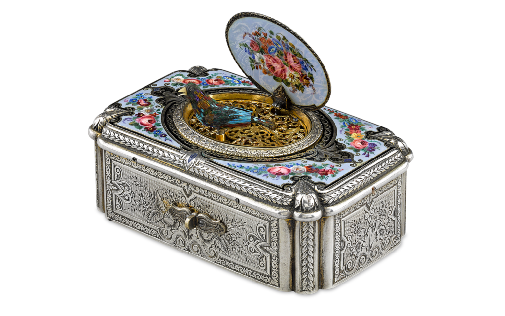 Silver and Enamel Fuseé Singing Bird Box by Charles Bruguier