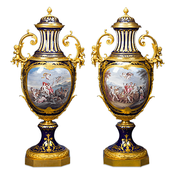 These majestic bronze-mounted Sèvres Porcelain Palace Urns are monumental in both size and quality, and feature the renowned manufactory's signature deep cobalt blue glaze